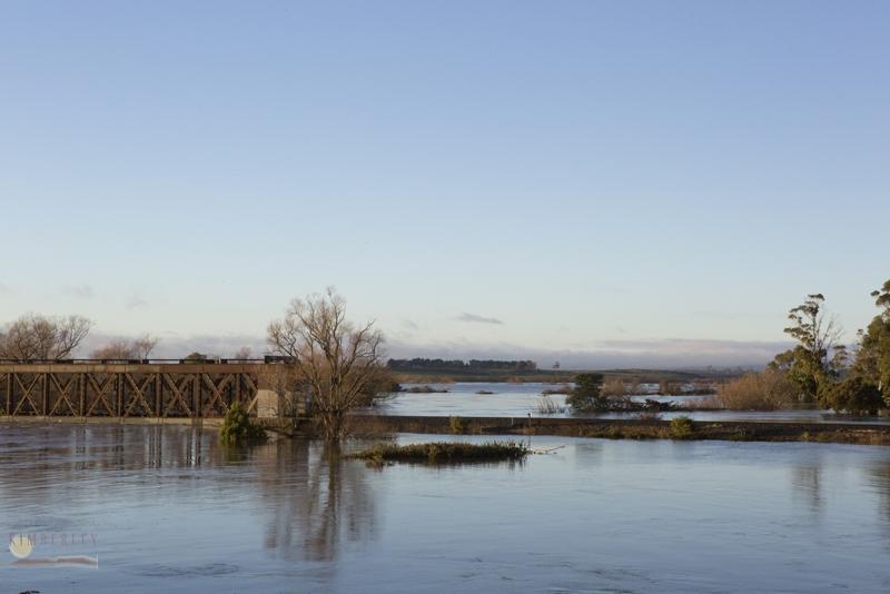 Longford railway bridge under water.