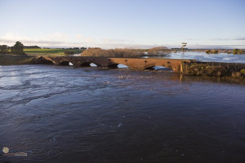 Railway bridge under water.